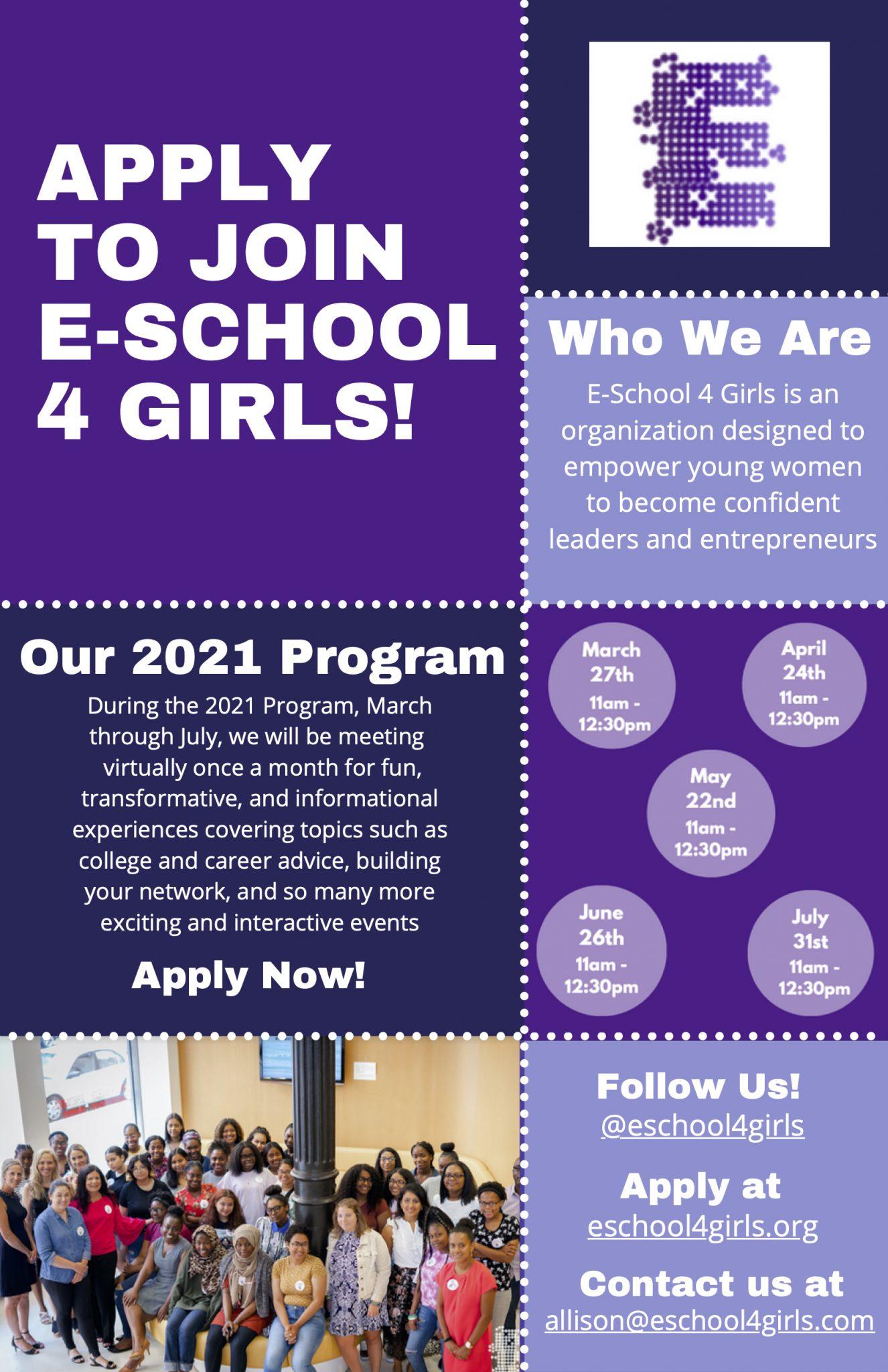 join e-school for girls flyer